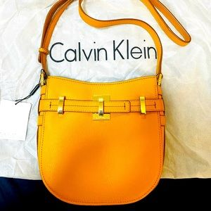 CK Faye Mustard Leather Top Zip Crossbody Bag